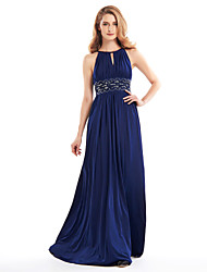 A-Line Jewel Neck Floor Length Jersey Mother of the Bride Dress with Beading Draping by LAN TING BRIDE®