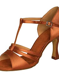 cheap -Women's Latin Shoes Satin Sandal / Heel Buckle Stiletto Heel Non Customizable Dance Shoes Brown / Blue / Gold / Indoor / Performance / Leather / Practice / Professional