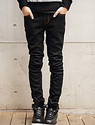 Da uomo Dritto Jeans Pantaloni-Semplice Casual Tinta unita A vita medio-alta Cerniera Cotone Micro-elastico All Seasons