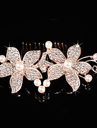 abordables -imitación perla rhinestone peine del pelo casco clásico estilo femenino