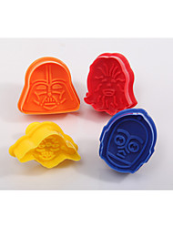 4pcs Darth Vader Yoda Chewbacca Fondant Mold Plunger Cookie Cutters
