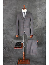 cheap -Gray Checkered / Gingham Tailored Fit Cotton Blend Suit - Notch Single Breasted Two-buttons / Suits