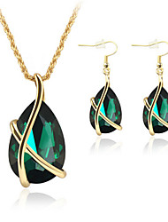 Jewelry Set Crystal Imitation Emerald Crystal Rose Gold Plated Teardrop White Green Blue Party 1set Necklaces Earrings Wedding Gifts