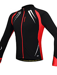 cheap -SANTIC Cycling Jacket Men's Bike Jacket Top Spring Spandex Fleece Bike Wear Thermal / Warm Windproof Anatomic Design Fleece Lining Front