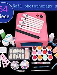 baratos -1set fornecimentos manicure fototerapia manicure lâmpada UV fototerapia cola definir fototerapia 64 peças