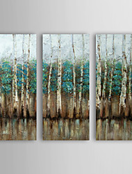 cheap -Hand-Painted Abstract Horizontal, Modern Canvas Oil Painting Home Decoration Three Panels