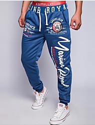 economico -Per uomo A vita medio-alta Attivo Moda città Media elasticità Largo Attivo Chino Pantaloni della tuta Pantaloni, Alfabetico Cotone