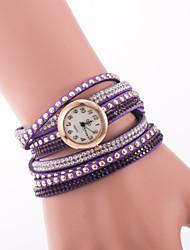 cheap -Women's Quartz Bracelet Watch Imitation Diamond Leather Band Charm Fashion Black Blue Red Brown Green Purple Beige Khaki