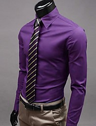 cheap -Men's Plus Size Solid Purple/Wine/Pink Shirt,Work Slimming Shirt Collar Long Sleeve