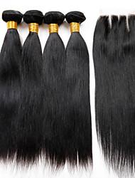 Недорогие -Перуанские волосы Прямой Не подвергавшиеся окрашиванию Волосы Уток с закрытием Ткет человеческих волос Расширения человеческих волос