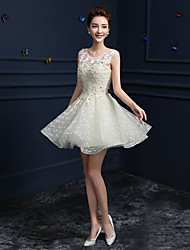 A-Line Jewel Neck Knee Length Lace Formal Evening Dress with Beading Sequins by Yaying