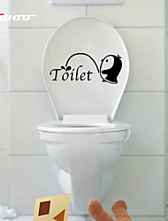 New Cartoon  Waterproof Wall Sticker For Toilet Bathroom Home Decor Vinyl Wall Decal