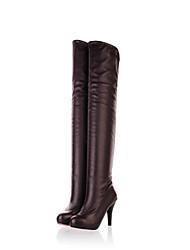 Недорогие -Жен. Обувь Дерматин Зима Осень Модная обувь Ботинки Круглый носок Бедро высокие сапоги для Для праздника Офис и карьера Белый Черный