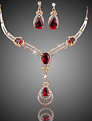 cheap -Women's Crystal / Synthetic Ruby Jewelry Set - Zircon, Cubic Zirconia, Gold Plated Drop Luxury, Fashion Include Drop Earrings / Pendant Necklace Red For Wedding / Party / Special Occasion