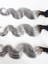baratos -Cabelo Brasileiro Onda de Corpo Cabelo Virgem Âmbar 3 pacotes Tramas de cabelo humano Cinzento