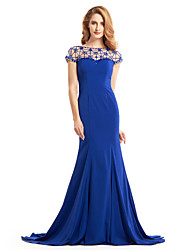 cheap -Mermaid / Trumpet Bateau Neck Sweep / Brush Train Jersey Mother of the Bride Dress with Beading by LAN TING BRIDE®