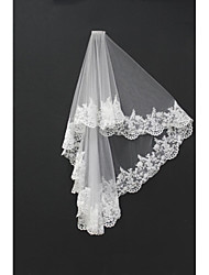 cheap -Two-tier Lace Applique Edge Wedding Veil Blusher Veils Shoulder Veils Fingertip Veils 53 Appliques Tulle