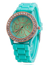 Women's Watch Fashion Gold Diamante Case Candy Color Silicone Band Cool Watches Unique Watches Strap Watch