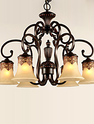 Ecolight® Chandeliers/Pendant Lights/6 Lights/Lampshade Down/ Vintage/Country/Living Room/Bedroom/Metal+Glass