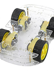 abordables -double couche 4-moteur châssis de la voiture intelligente w / disque codé mesure de vitesse - noir + jaune