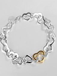 "cheap -Fashion 925 Silver Sterling ""Gold Heart""Chain & Link Bracelets For Woman&Lady Christmas Gifts"