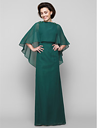 Sheath / Column Scoop Neck Ankle Length Jersey Mother of the Bride Dress with Beading by LAN TING BRIDE®