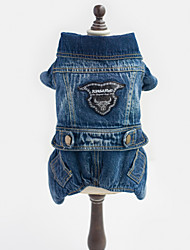Dog Clothes/Jumpsuit / Denim Jacket/Jeans Jacket Blue Dog Clothes Winter / Spring/Fall Jeans Cowboy / Fashion