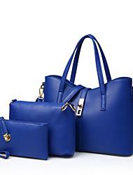 baratos -Mulheres Bolsas PU Tote / Bolsa de Ombro / Conjuntos de saco 3 Pcs Purse Set Tachas Vermelho / Azul / Rosa claro