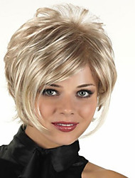 cheap -Capless Short Synthetic Mixed Straight Curly Hair Wig Full Bang