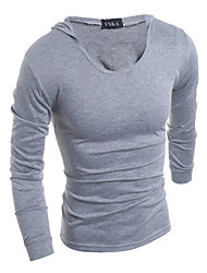 cheap -Men's Plus Size Cotton T-shirt - Solid Colored Fashion Hooded
