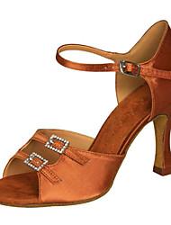 cheap -Women's Dance Shoes Latin / Swing Shoes / Salsa / Samba Satin Stiletto Heel Black / Brown /