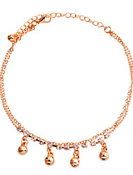 cheap -Korean Delicate Ball And Rhinestones Double Chain Anklet