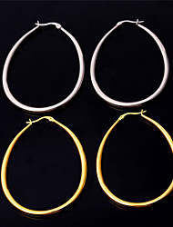 U7® Women's 2015 New Fashion Earrings Stainless Steel 18K Real Gold Plated Basketball Wives Big Oval Hoop Earrings