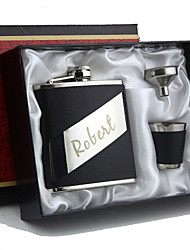 Gift Groomsman Personalized 4-pieces Quality Stainless Steel 6-oz Flask Gift Set