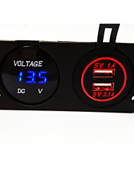 cheap -Digital Voltmeter and Dual USB Car Charger, New Products, with Waterproof Function.