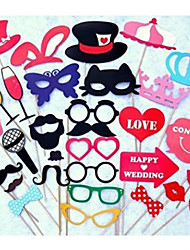 33pcs / set festivo& fontes do partido foto adereços estande bigode favor do casamento champanhe