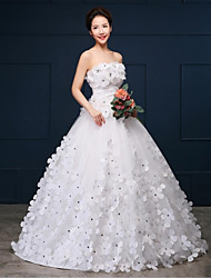 cheap -Ball Gown Strapless Chapel Train Organza Satin Wedding Dress with Flower by JUEXIU Bridal
