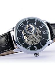 baratos -Homens Relógio de Pulso Venda imperdível Couro Banda Amuleto Preta / Marrom / Aço Inoxidável / Automático - da corda automáticamente