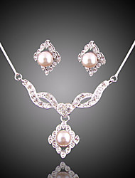 Jewelry suit luxury full drill imitation pearl silver plating (necklace) (earrings)