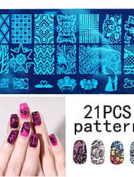 Недорогие -1ps ногтей печать шаблон ногтей кружева pattren 12x6cm