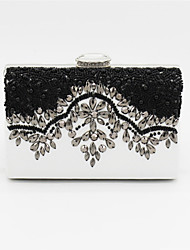 Women Bags PU Evening Bag Beading for Wedding Event/Party Black