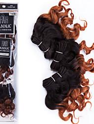 billige -3 Bundler Brasiliansk hår Krøllet / Klassisk Jomfruhår Nuance 8 inch Nuance Menneskehår Vævninger 7a Menneskehår Extensions