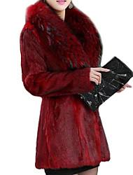 Cappotto di pelliccia Da donna Da party/cocktail / Casual InvernoTinta unita A V Pelliccia sintetica Rosso / Nero Manica lunga Spesso