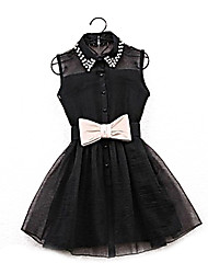 cheap -Women's Going out Skater Dress - Solid Colored Black, Beaded Bow Pleated Mini Shirt Collar