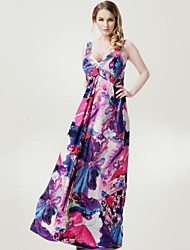 Women's Boho Beach Plus Size/Swing Dress,Floral Deep V Maxi Sleeveless Purple Polyester Spring