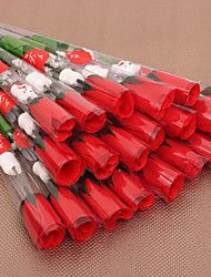 (24 Pieces/Lot) Valentines Day Silk Red Roses With Cartoon Bear Simulation Artificial Flower