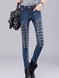 Mulheres Cintura Média Micro-Elástica Justas/Skinny Jeans Calças, Poliéster Primavera Sólido