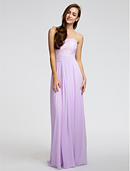 Sheath / Column Strapless Floor Length Chiffon Bridesmaid Dress with Lace Sash / Ribbon Ruching by LAN TING BRIDE®