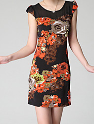 cheap -Women's Sexy  Casual  Day Floral Sheath Dress , Round Neck Above Knee Spandex