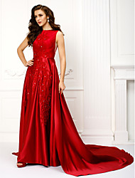 cheap -A-Line Jewel Neck Chapel Train Satin Prom Formal Evening Dress with Appliques by TS Couture®